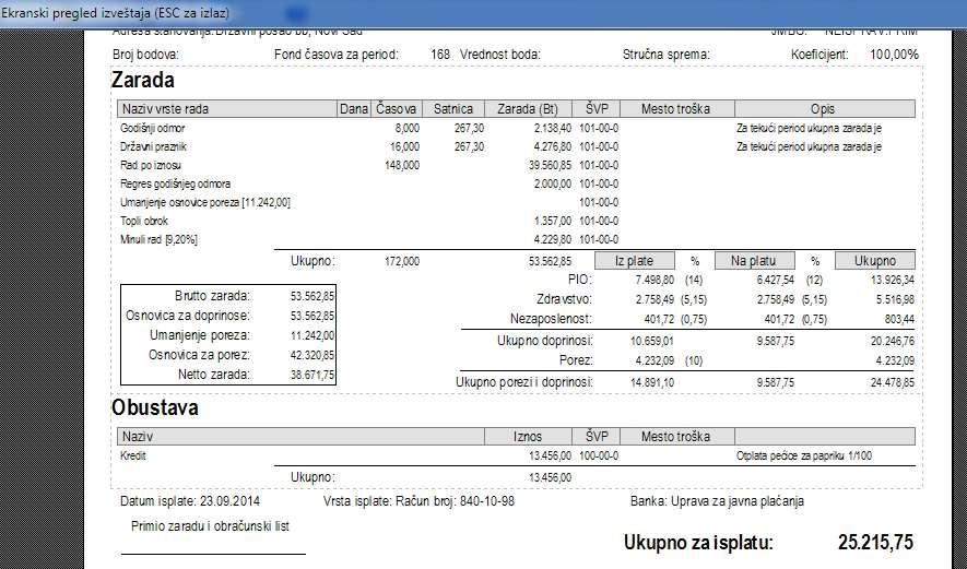 Obračunski list zarade